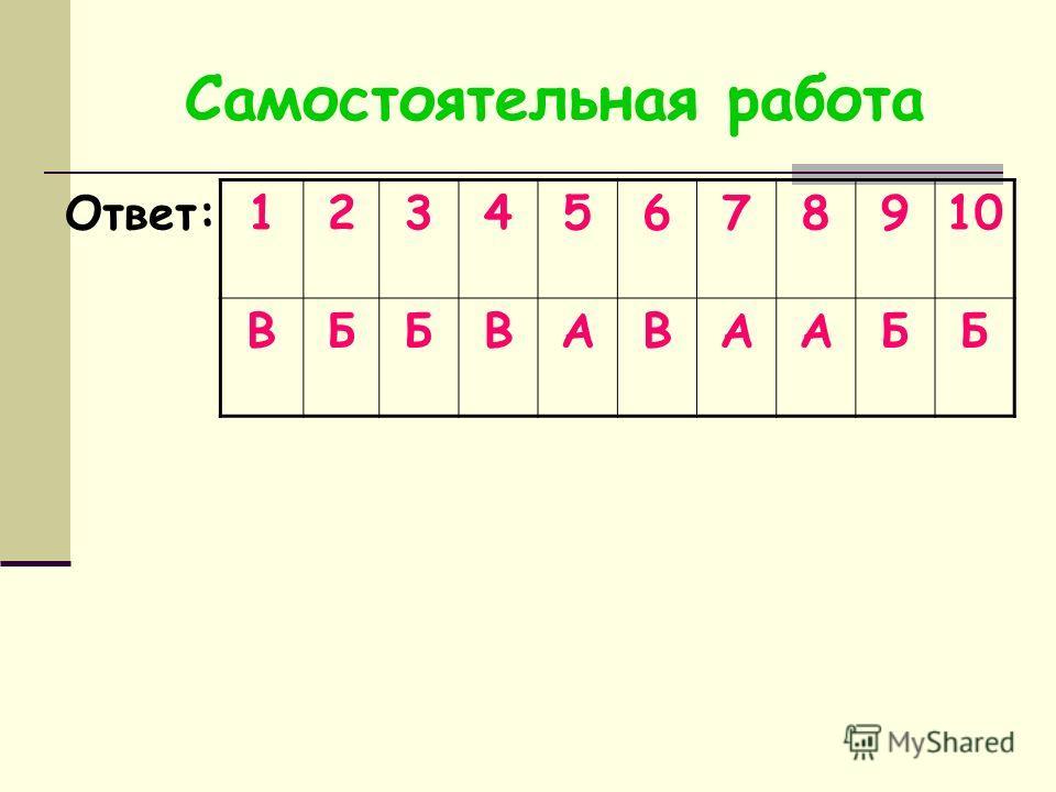 Самостоятельная работа Ответ: 12345678910 ВББВАВААББ