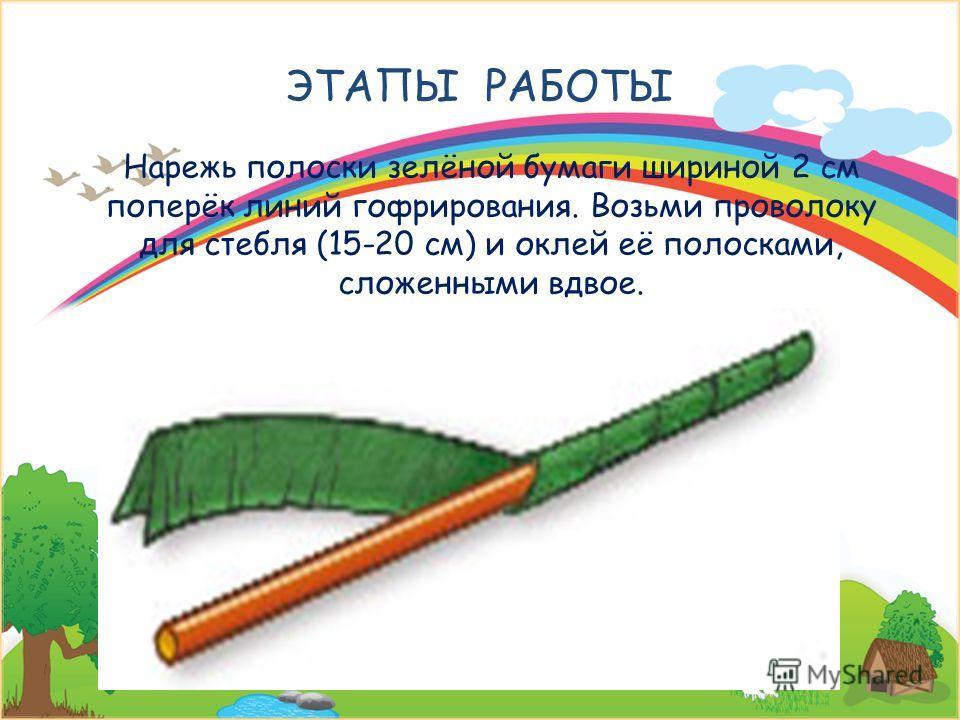 ЭТАПЫ РАБОТЫ Нарежь полоски зелёной бумаги шириной 2 см поперёк линий гофрирования. Возьми проволоку для стебля (15-20 см) и оклей её полосками, сложенными вдвое. 22 декабря 2013 г.Signature of Teacher