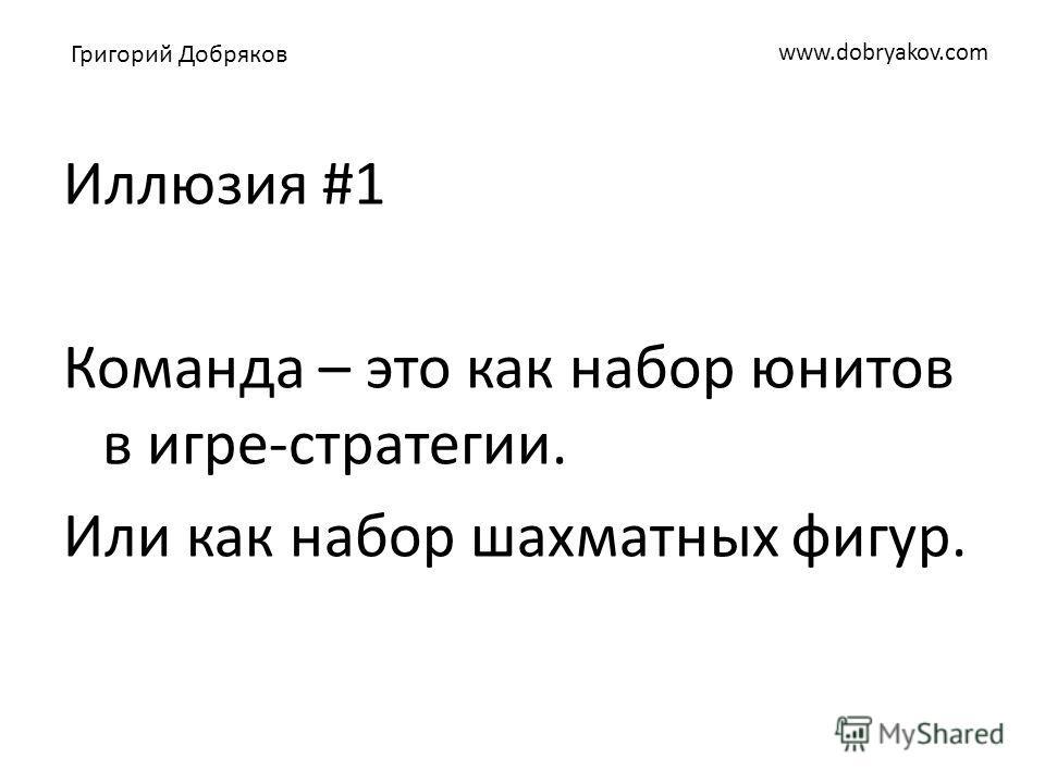 www.dobryakov.com Иллюзия #1 Команда – это как набор юнитов в игре-стратегии. Или как набор шахматных фигур. Григорий Добряков