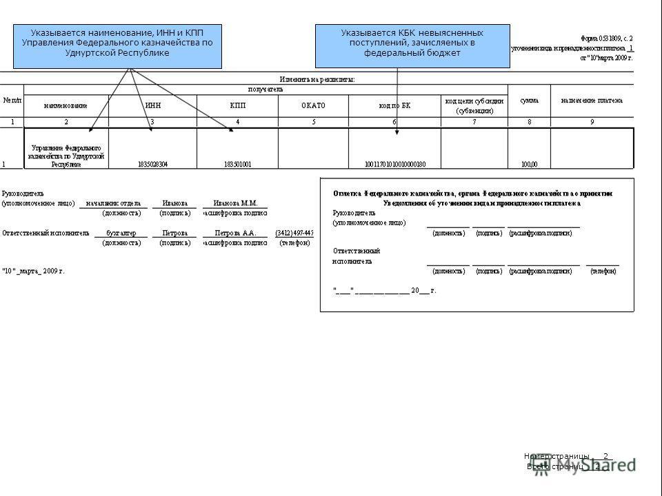 Указывается наименование, ИНН и КПП Управления Федерального казначейства по Удмуртской Республике Указывается КБК невыясненных поступлений, зачисляемых в федеральный бюджет Номер страницы___2_ Всего страниц __2__