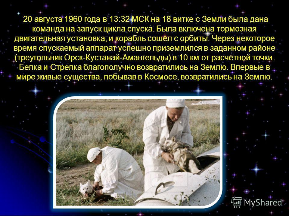 20 августа 1960 года в 13:32 МСК на 18 витке с Земли была дана команда на запуск цикла спуска. Была включена тормозная двигательная установка, и корабль сошёл с орбиты. Через некоторое время спускаемый аппарат успешно приземлился в заданном районе (т