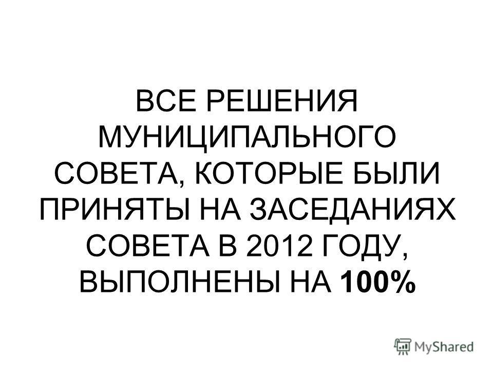 ВСЕ РЕШЕНИЯ МУНИЦИПАЛЬНОГО СОВЕТА, КОТОРЫЕ БЫЛИ ПРИНЯТЫ НА ЗАСЕДАНИЯХ СОВЕТА В 2012 ГОДУ, ВЫПОЛНЕНЫ НА 100%