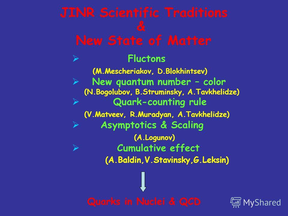 JINR Scientific Traditions & New State of Matter Fluctons (M.Mescheriakov, D.Blokhintsev) New quantum number – color (N.Bogolubov, B.Struminsky, A.Tavkhelidze) Quark-counting rule (V.Matveev, R.Muradyan, A.Tavkhelidze) Asymptotics & Scaling (A.Loguno