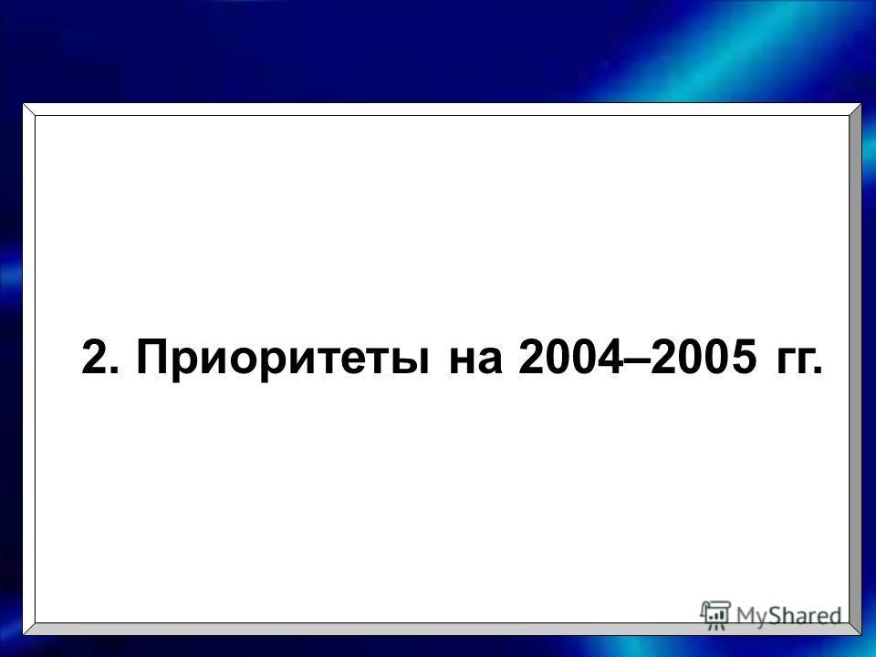 2. Приоритеты на 2004–2005 гг.