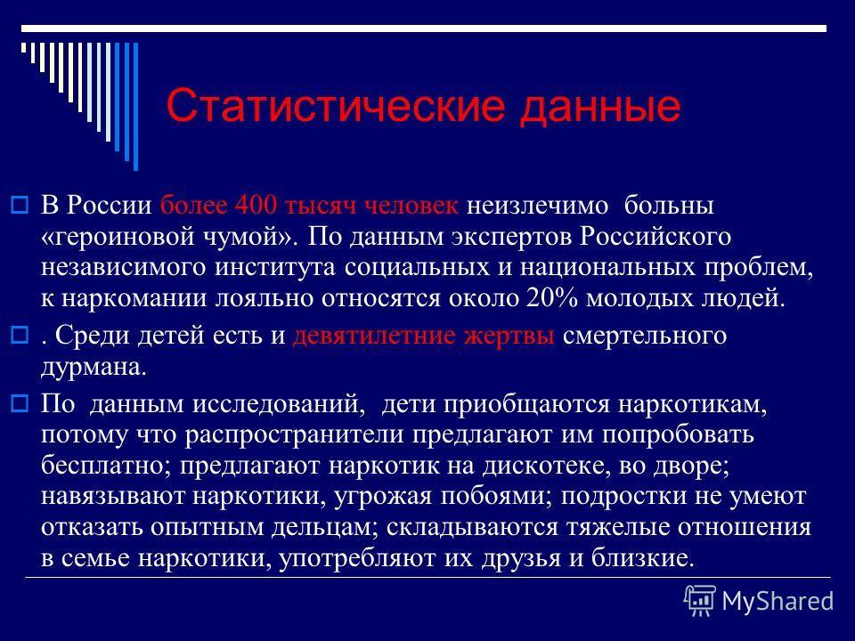 Статистические данные В России более 400 тысяч человек неизлечимо больны «героиновой чумой». По данным экспертов Российского независимого института социальных и национальных проблем, к наркомании лояльно относятся около 20% молодых людей.. Среди дете