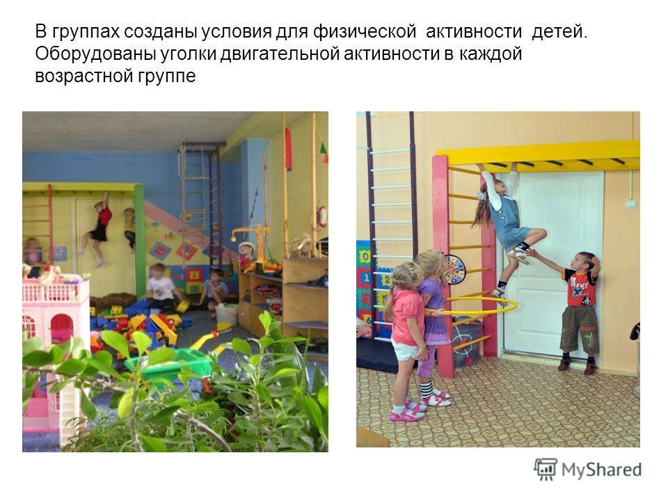 В группах созданы условия для физической активности детей. Оборудованы уголки двигательной активности в каждой возрастной группе