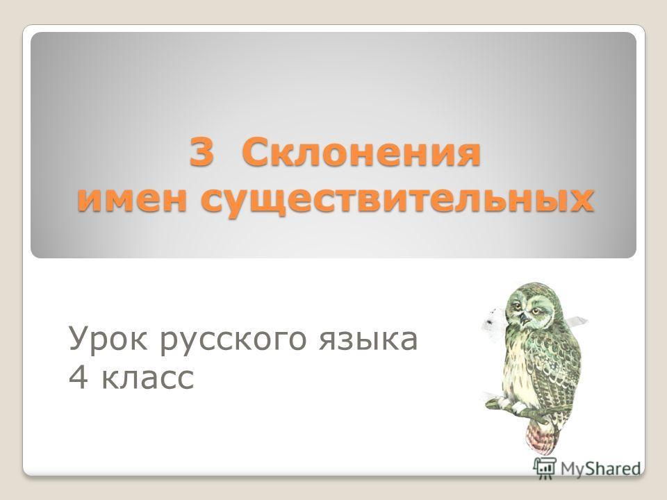 3 Склонения имен существительных Урок русского языка 4 класс