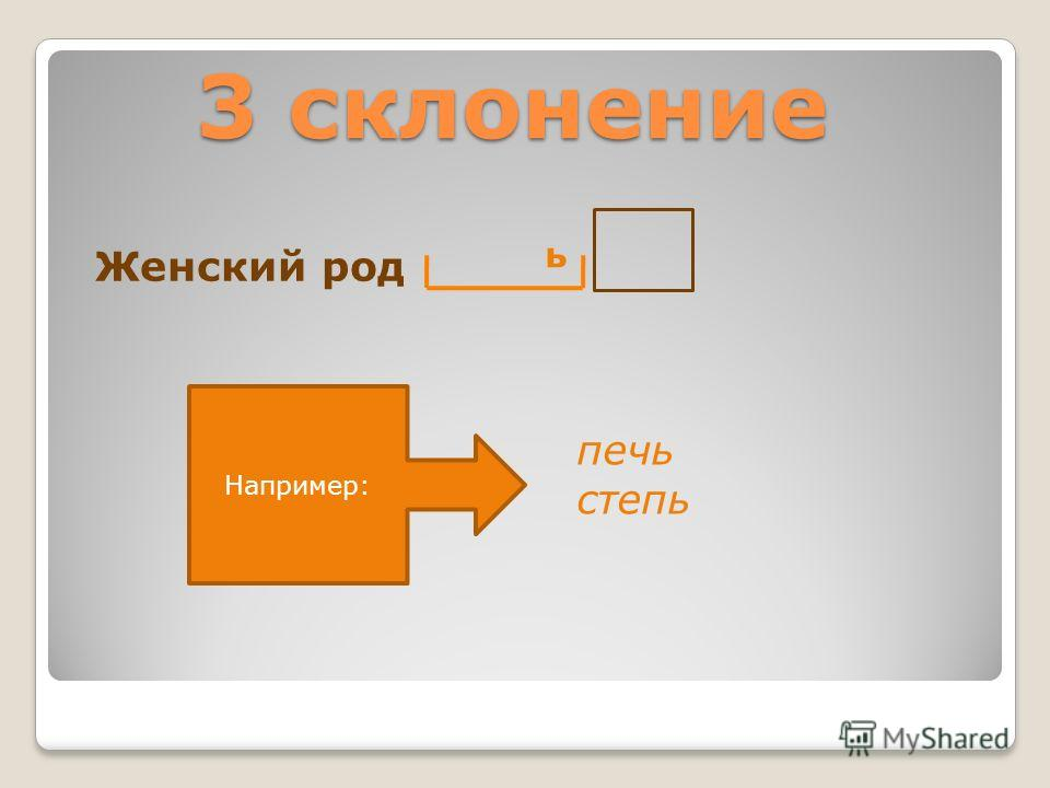 3 склонение Женский род печь степь Например: ь