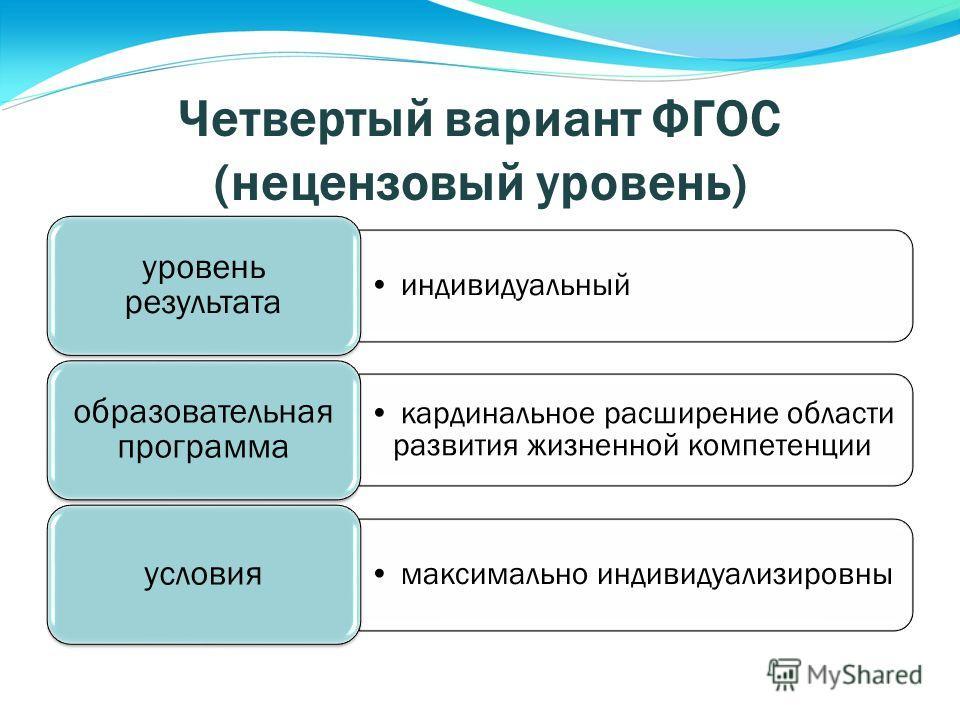 Четвертый вариант ФГОС (нецензовый уровень) индивидуальный уровень результата кардинальное расширение области развития жизненной компетенции образовательная программа максимально индивидуализировны условия