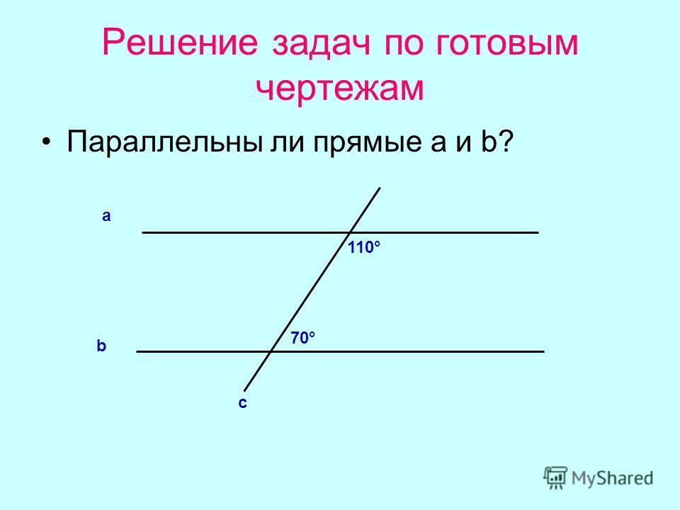 Решение задач по готовым чертежам Параллельны ли прямые а и b? b а с 110° 70°