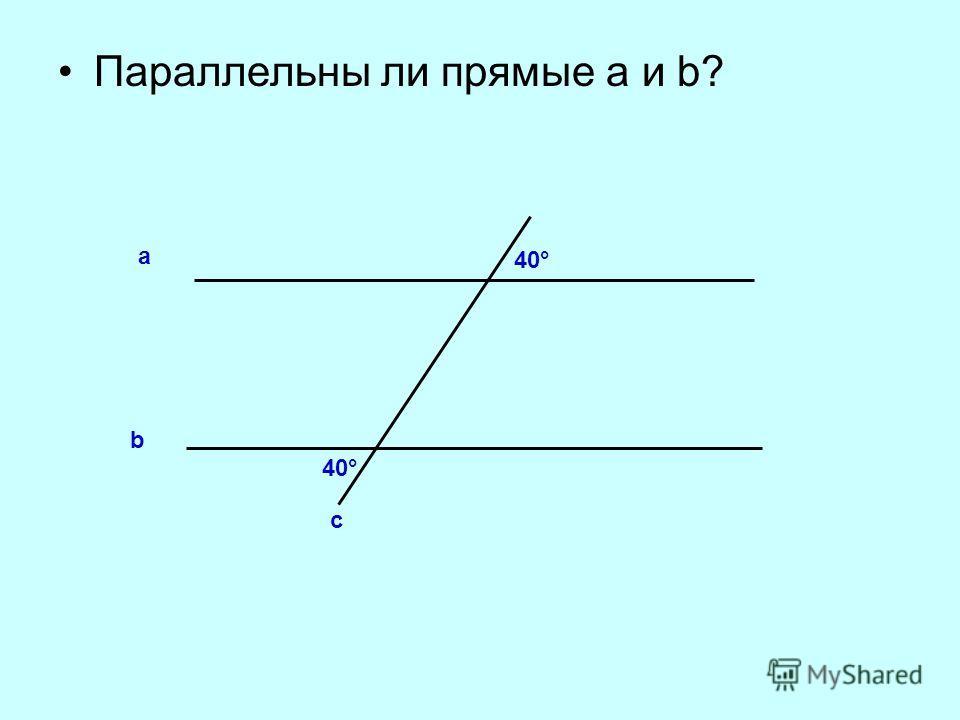 Параллельны ли прямые а и b? b а с 40°