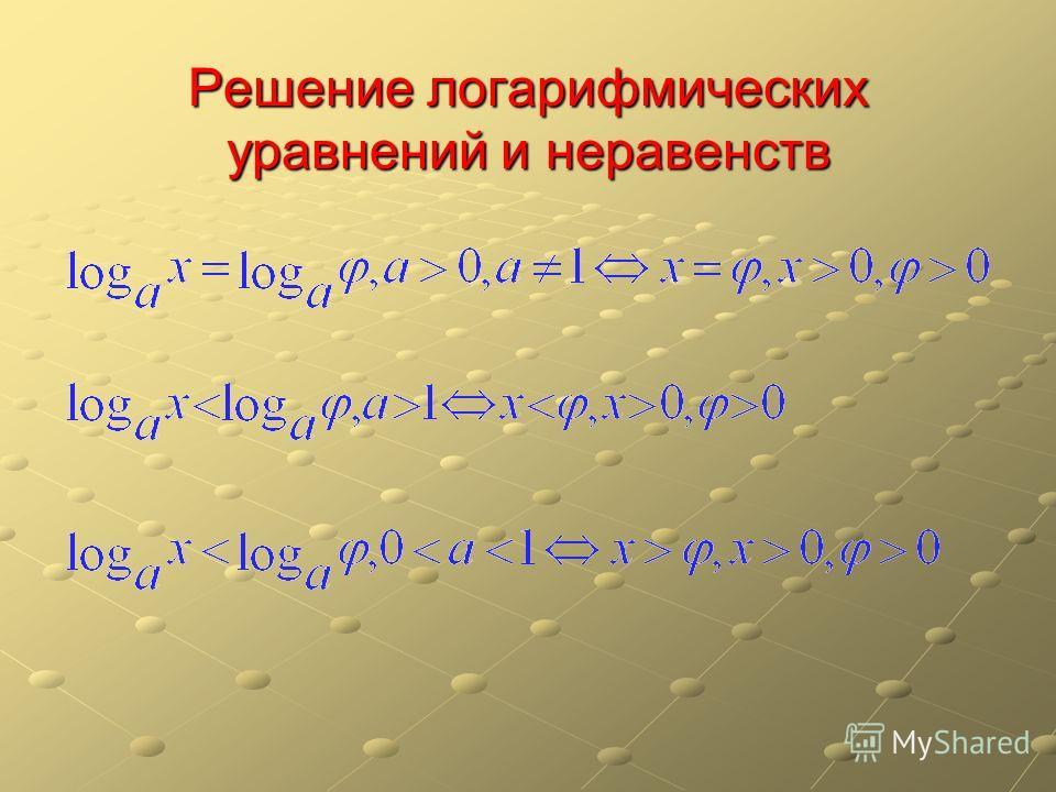 Решение логарифмических уравнений и неравенств