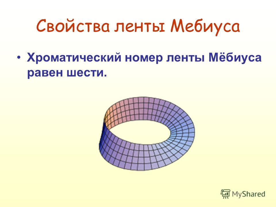 Хроматический номер ленты Мёбиуса равен шести. Свойства ленты Мебиуса