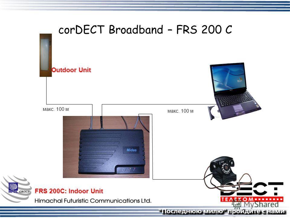 corDECT Broadband – FRS 200 C FRS 200C: Indoor Unit Outdoor Unit макс. 100 м