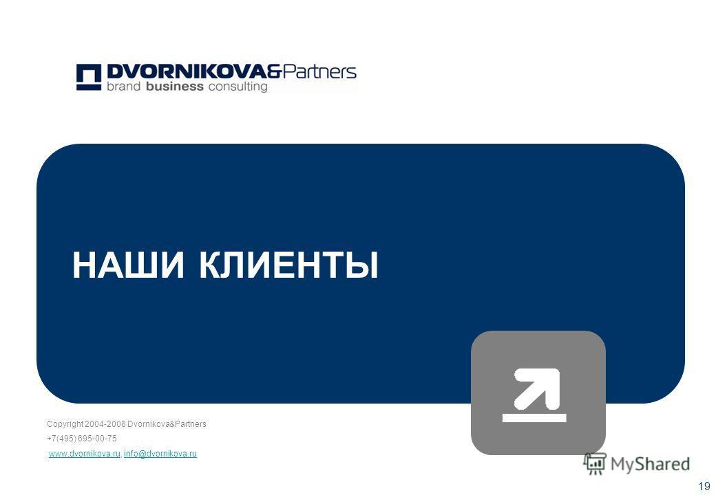 Copyright 2004-2008 Dvornikova&Partners +7(495) 695-00-75 www.dvornikova.ru, info@dvornikova.ruwww.dvornikova.ruinfo@dvornikova.ru 19 НАШИ КЛИЕНТЫ