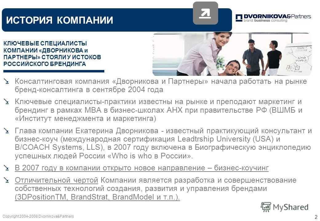 Copyright 2004-2008 Dvornikova&Partners 2 Консалтинговая компания «Дворникова и Партнеры» начала работать на рынке бренд-консалтинга в сентябре 2004 года Ключевые специалисты-практики известны на рынке и преподают маркетинг и брендинг в рамках MBA в