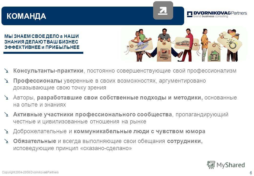 Copyright 2004-2008 Dvornikova&Partners 6 Консультанты-практики, постоянно совершенствующие свой профессионализм Профессионалы уверенные в своих возможностях, аргументировано доказывающие свою точку зрения Авторы, разработавшие свои собственные подхо