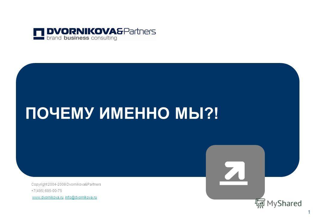 Copyright 2004-2008 Dvornikova&Partners +7(495) 695-00-75 www.dvornikova.ru, info@dvornikova.ruwww.dvornikova.ruinfo@dvornikova.ru 1 ПОЧЕМУ ИМЕННО МЫ?!