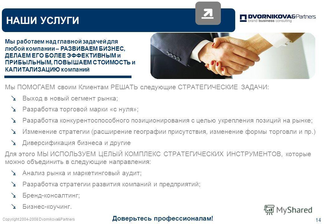 Copyright 2004-2008 Dvornikova&Partners 14 НАШИ УСЛУГИ Мы работаем над главной задачей для любой компании – РАЗВИВАЕМ БИЗНЕС, ДЕЛАЕМ ЕГО БОЛЕЕ ЭФФЕКТИВНЫМ и ПРИБЫЛЬНЫМ, ПОВЫШАЕМ СТОИМОСТЬ и КАПИТАЛИЗАЦИЮ компаний Мы ПОМОГАЕМ своим Клиентам РЕШАТЬ сле