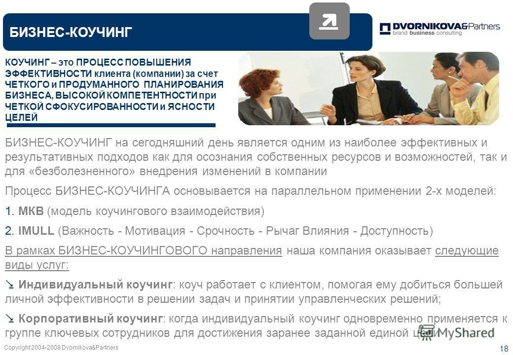 Copyright 2004-2008 Dvornikova&Partners 18 БИЗНЕС-КОУЧИНГ БИЗНЕС-КОУЧИНГ на сегодняшний день является одним из наиболее эффективных и результативных подходов как для осознания собственных ресурсов и возможностей, так и для «безболезненного» внедрения