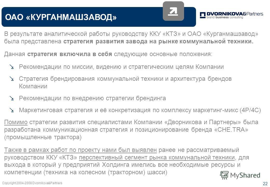 Copyright 2004-2008 Dvornikova&Partners 22 ОАО «КУРГАНМАШЗАВОД» В результате аналитической работы руководству ККУ «КТЗ» и ОАО «Курганмашзавод» была представлена стратегия развития завода на рынке коммунальной техники. Данная стратегия включила в себя
