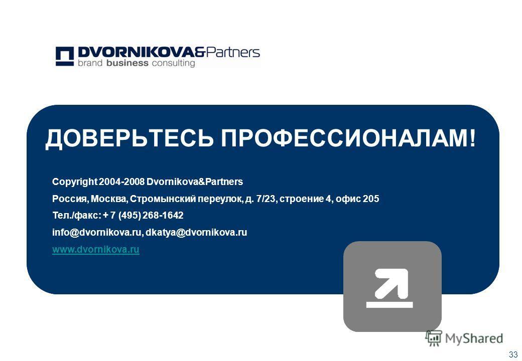 33 ДОВЕРЬТЕСЬ ПРОФЕССИОНАЛАМ! Copyright 2004-2008 Dvornikova&Рartners Россия, Москва, Стромынский переулок, д. 7/23, строение 4, офис 205 Тел./факс: + 7 (495) 268-1642 info@dvornikova.ru, dkatya@dvornikova.ru www.dvornikova.ru