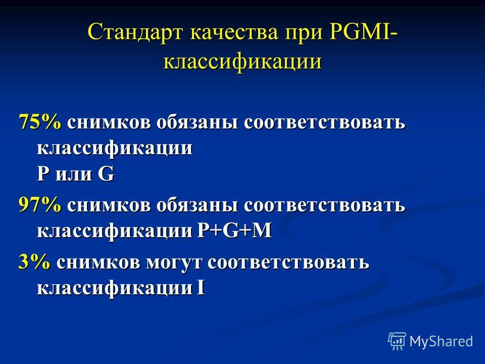 Стандарт качества при PGMI- классификации 75% снимков обязаны соответствовать классификации Р или G 97% снимков обязаны соответствовать классификации P+G+M 3% снимков могут соответствовать классификации I