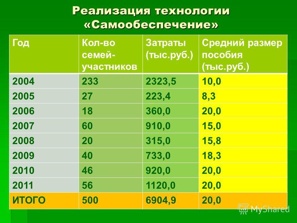 Реализация технологии «Самообеспечение» ГодКол-во семей- участников Затраты (тыс.руб.) Средний размер пособия (тыс.руб.) 20042332323,510,0 200527223,48,3 200618360,020,0 200760910,015,0 200820315,015,8 200940733,018,3 201046920,020,0 2011561120,020,0