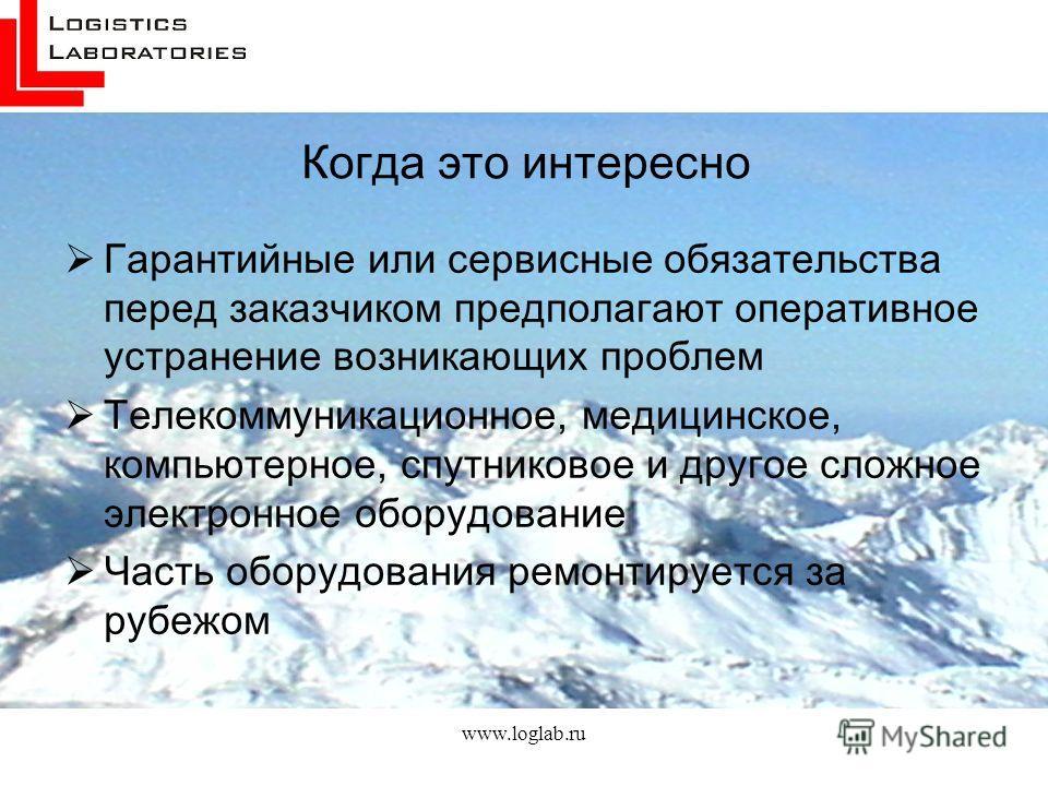 www.loglab.ru Когда это интересно Гарантийные или сервисные обязательства перед заказчиком предполагают оперативное устранение возникающих проблем Телекоммуникационное, медицинское, компьютерное, спутниковое и другое сложное электронное оборудование