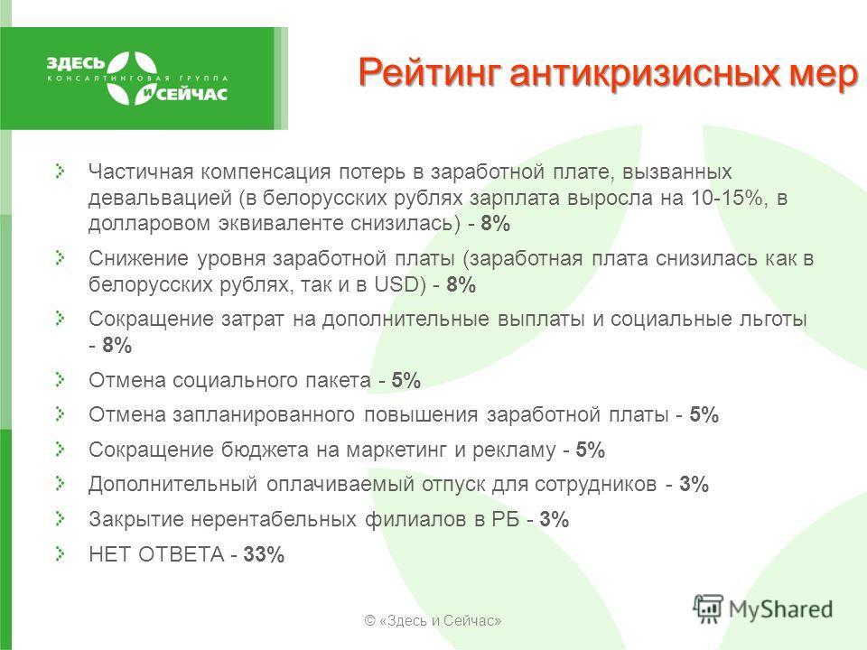 Рейтинг антикризисных мер Частичная компенсация потерь в заработной плате, вызванных девальвацией (в белорусских рублях зарплата выросла на 10-15%, в долларовом эквиваленте снизилась) - 8% Снижение уровня заработной платы (заработная плата снизилась