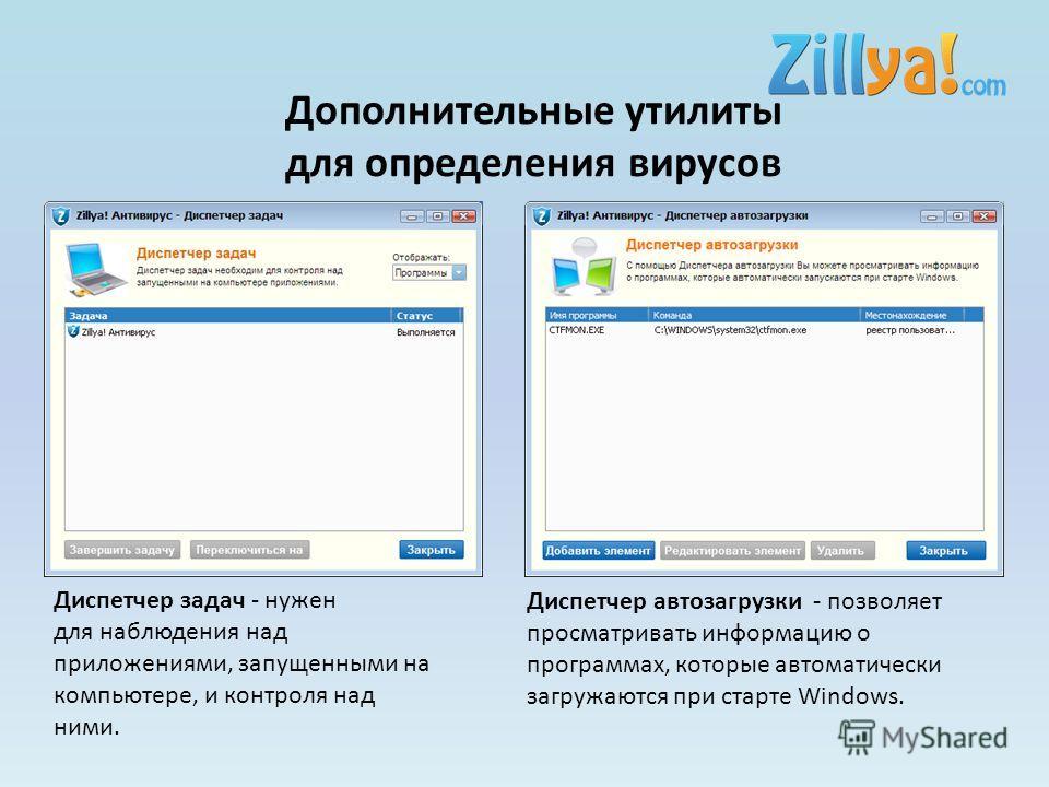 Дополнительные утилиты для определения вирусов Диспетчер задач - нужен для наблюдения над приложениями, запущенными на компьютере, и контроля над ними. Диспетчер автозагрузки - позволяет просматривать информацию о программах, которые автоматически за