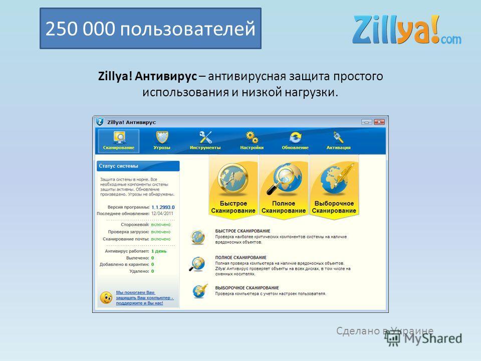 Zillya! Антивирус – антивирусная защита простого использования и низкой нагрузки. Сделано в Украине 250 000 пользователей