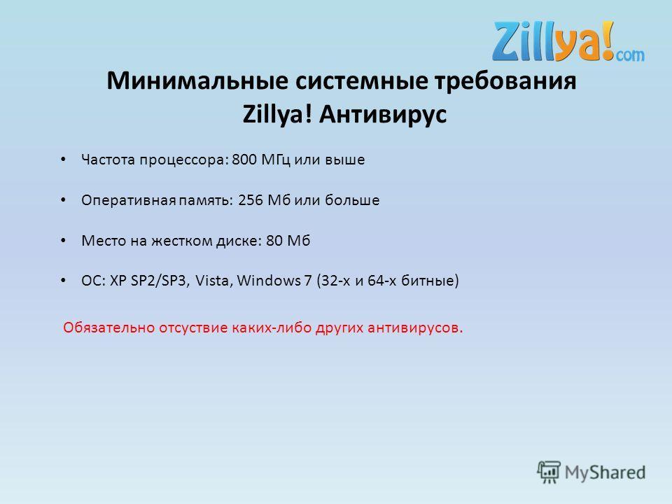 Минимальные системные требования Zillya! Антивирус Частота процессора: 800 МГц или выше Оперативная память: 256 Мб или больше Место на жестком диске: 80 Мб ОC: XP SP2/SP3, Vista, Windows 7 (32-х и 64-х битные) Обязательно отсуствие каких-либо других