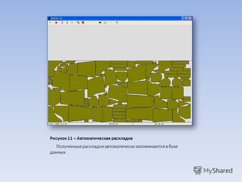 Рисунок 11 – Автоматическая раскладка Полученные раскладки автоматически запоминаются в базе данных.