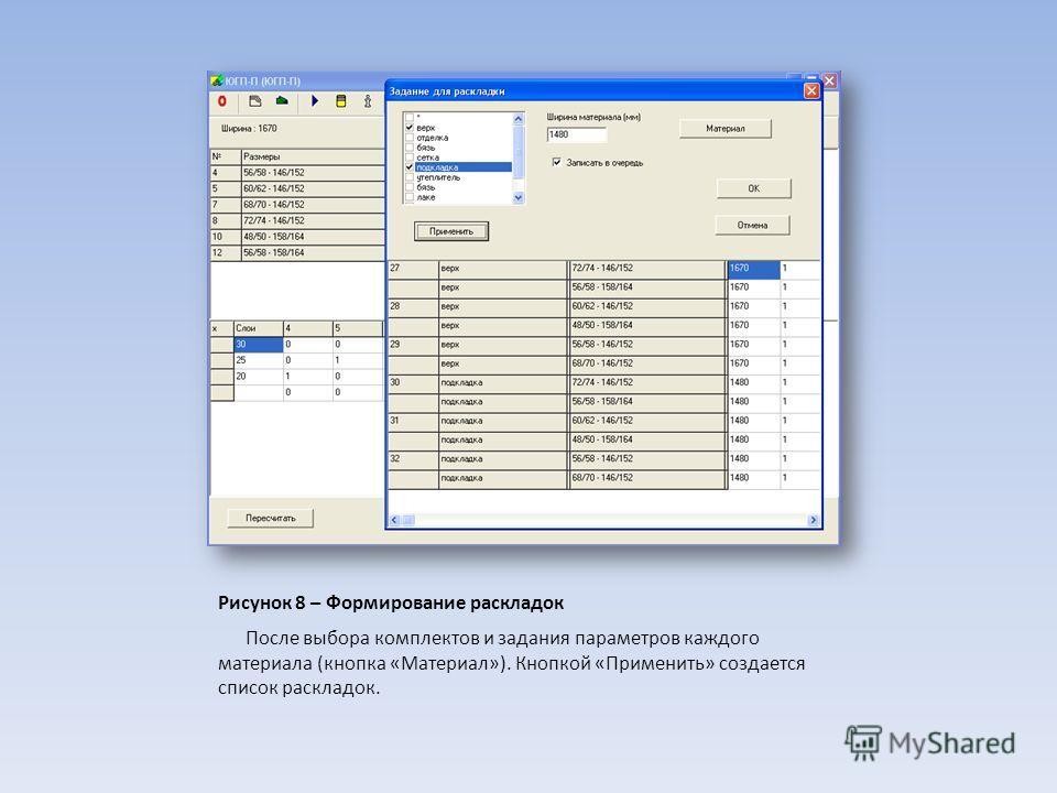 Рисунок 8 – Формирование раскладок После выбора комплектов и задания параметров каждого материала (кнопка «Материал»). Кнопкой «Применить» создается список раскладок.