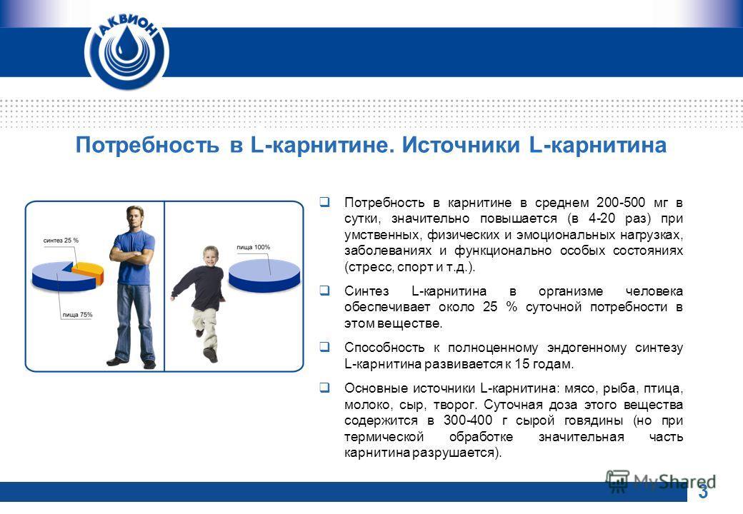 Потребность в L-карнитине. Источники L-карнитина Потребность в карнитине в среднем 200-500 мг в сутки, значительно повышается (в 4-20 раз) при умственных, физических и эмоциональных нагрузках, заболеваниях и функционально особых состояниях (стресс, с