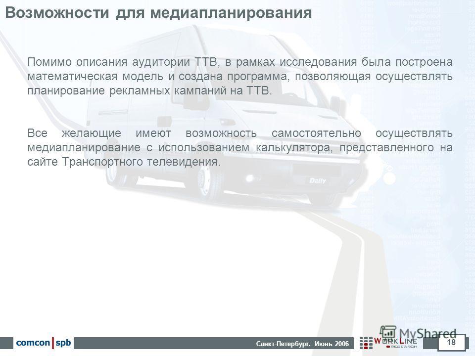 Санкт-Петербург. Июнь 2006 18 Возможности для медиапланирования Помимо описания аудитории ТТВ, в рамках исследования была построена математическая модель и создана программа, позволяющая осуществлять планирование рекламных кампаний на ТТВ. Все желающ