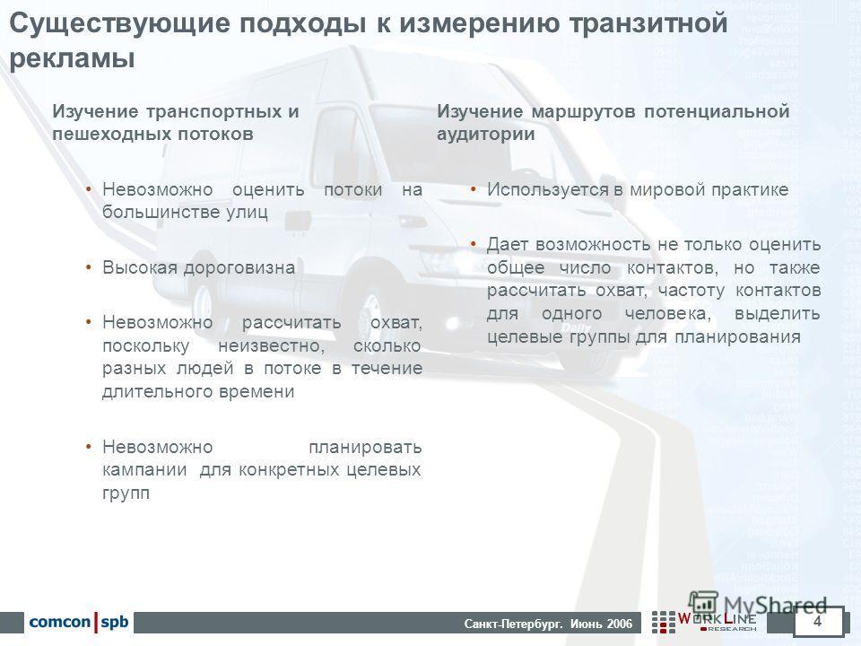 Санкт-Петербург. Июнь 2006 4 Существующие подходы к измерению транзитной рекламы Изучение транспортных и пешеходных потоков Невозможно оценить потоки на большинстве улиц Высокая дороговизна Невозможно рассчитать охват, поскольку неизвестно, сколько р