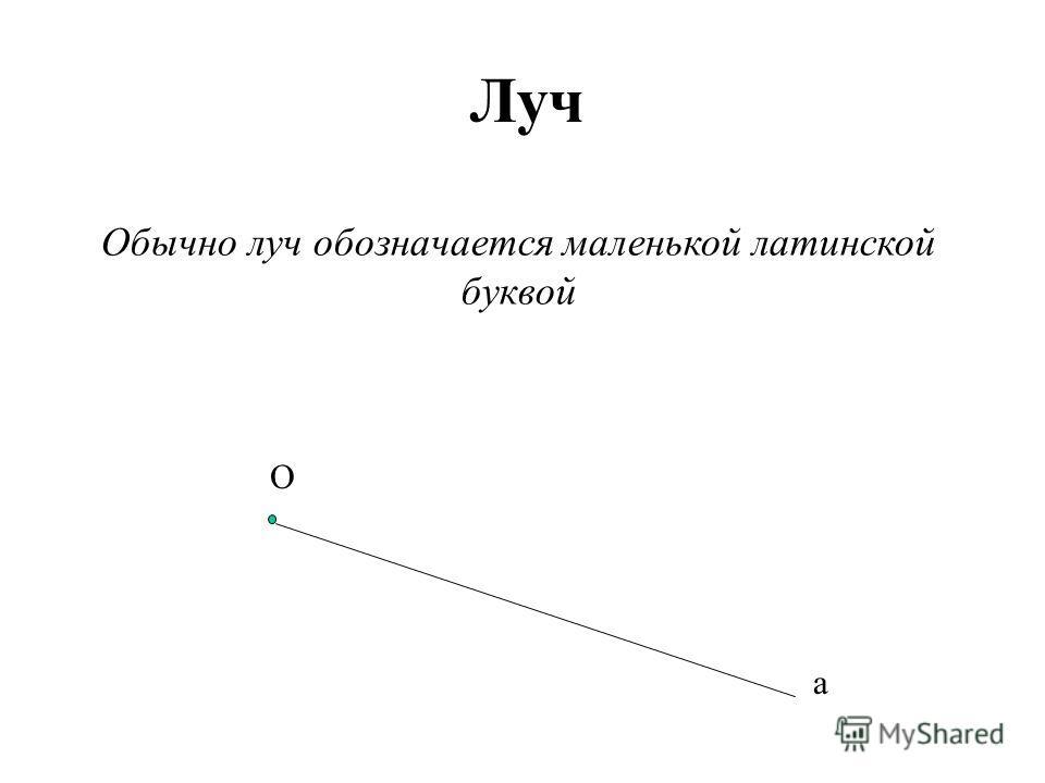 Луч Обычно луч обозначается маленькой латинской буквой О а