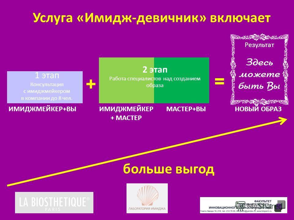 Услуга «Имидж-девичник» включает 1 этап Консультация с имиджмейкером в компании до 8 чел. ИМИДЖМЕЙКЕР+ВЫМАСТЕР+ВЫ Результат НОВЫЙ ОБРАЗ + = больше выгод 2 этап Работа специалистов над созданием образа ИМИДЖМЕЙКЕР + МАСТЕР