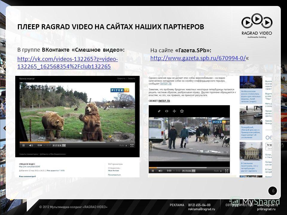ПЛЕЕР RAGRAD VIDEO НА САЙТАХ НАШИХ ПАРТНЕРОВ В группе ВКонтакте «Смешное видео»: http://vk.com/videos-132265?z=video- 132265_162568354%2Fclub132265 6 На сайте «Гаzета.SPb»: http://www.gazeta.spb.ru/670994-0/http://www.gazeta.spb.ru/670994-0/«