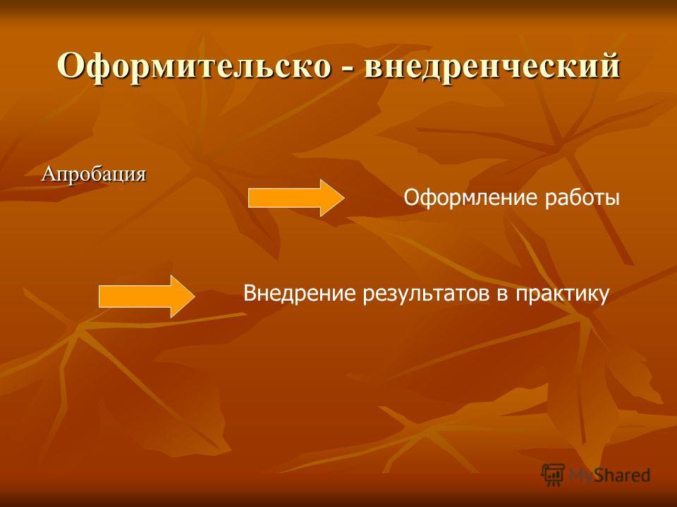 Оформительско - внедренческий Апробация Оформление работы Внедрение результатов в практику
