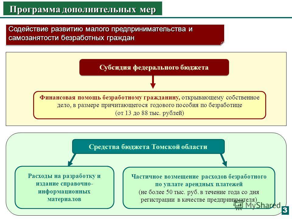 Средства бюджета Томской области Программа дополнительных мер Содействие развитию малого предпринимательства и самозанятости безработных граждан Финансовая помощь безработному гражданину, открывающему собственное дело, в размере причитающегося годово