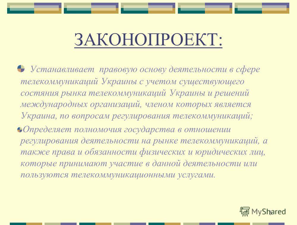 3 ЗАКОНОПРОЕКТ: Устанавливает правовую основу деятельности в сфере телекоммуникаций Украины с учетом существующего состяния рынка телекоммуникаций Украины и решений международных организаций, членом которых является Украина, по вопросам регулирования