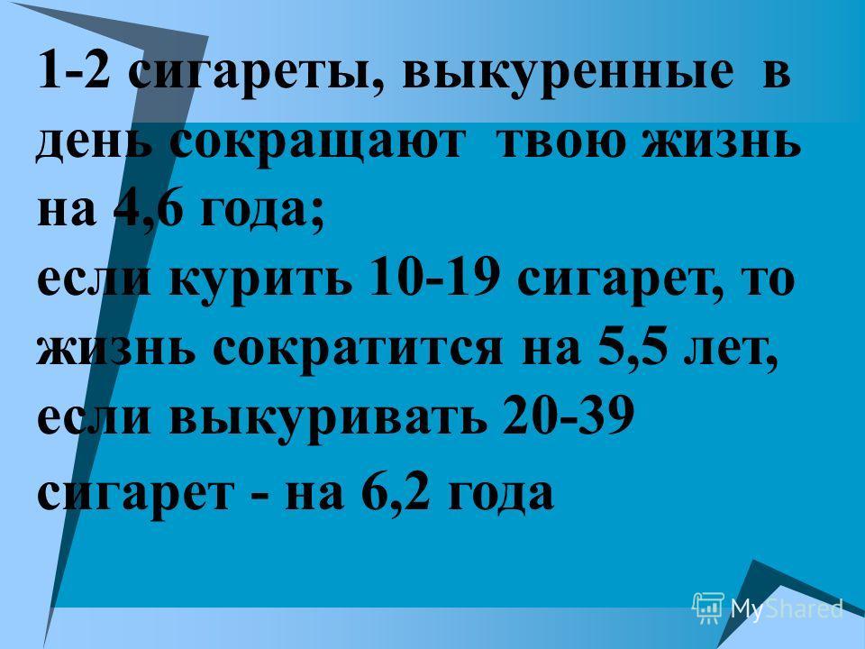 1-2 сигареты, выкуренные в день сокращают твою жизнь на 4,6 года; если курить 10-19 сигарет, то жизнь сократится на 5,5 лет, если выкуривать 20-39 сигарет - на 6,2 года