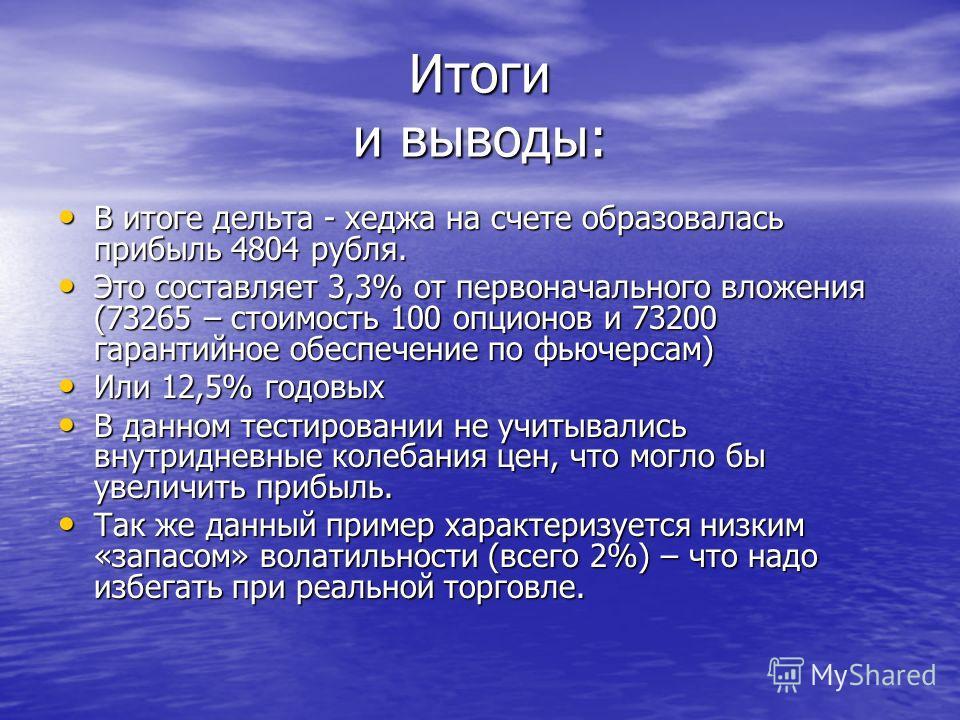 В итоге дельта - хеджа на счете образовалась прибыль 4804 рубля. В итоге дельта - хеджа на счете образовалась прибыль 4804 рубля. Это составляет 3,3% от первоначального вложения (73265 – стоимость 100 опционов и 73200 гарантийное обеспечение по фьюче