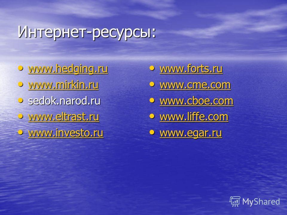 Интернет-ресурсы: www.hedging.ru www.hedging.ru www.hedging.ru www.mirkin.ru www.mirkin.ru www.mirkin.ru sedok.narod.ru sedok.narod.ru www.eltrast.ru www.eltrast.ru www.eltrast.ru www.investo.ru www.investo.ru www.investo.ru www.forts.ru www.forts.ru