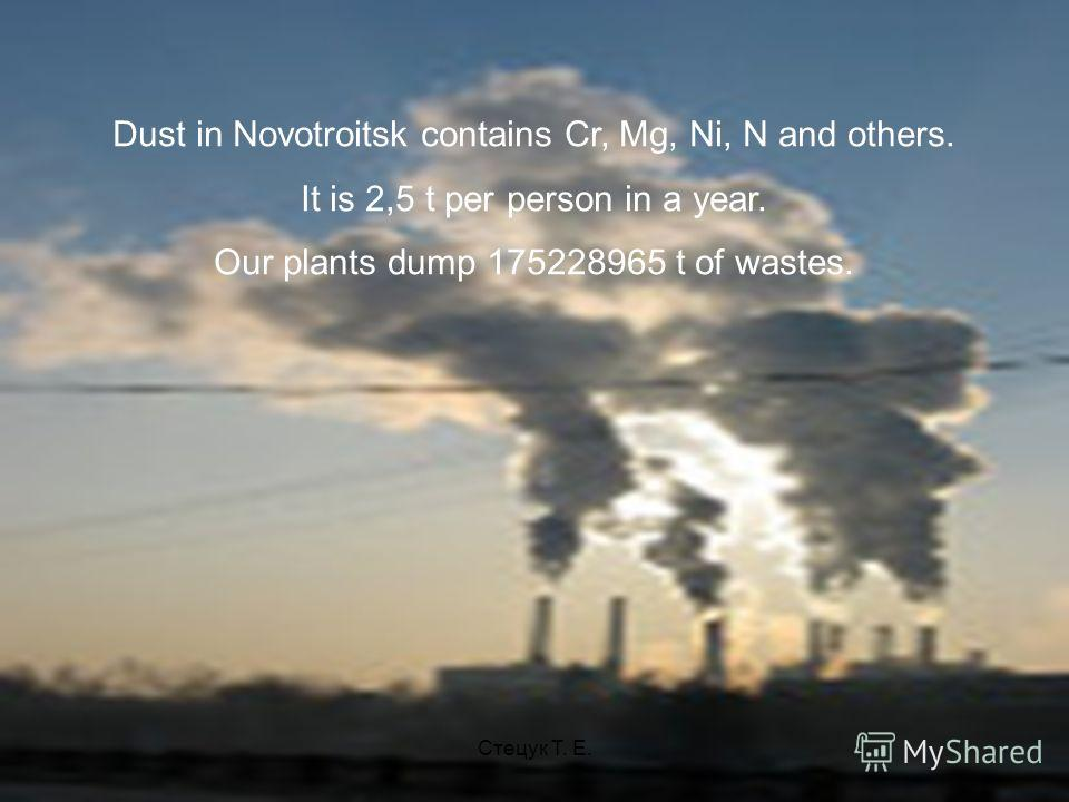 Dust in Novotroitsk contains Cr, Mg, Ni, N and others. It is 2,5 t per person in a year. Our plants dump 175228965 t of wastes. Стецук Т. Е.