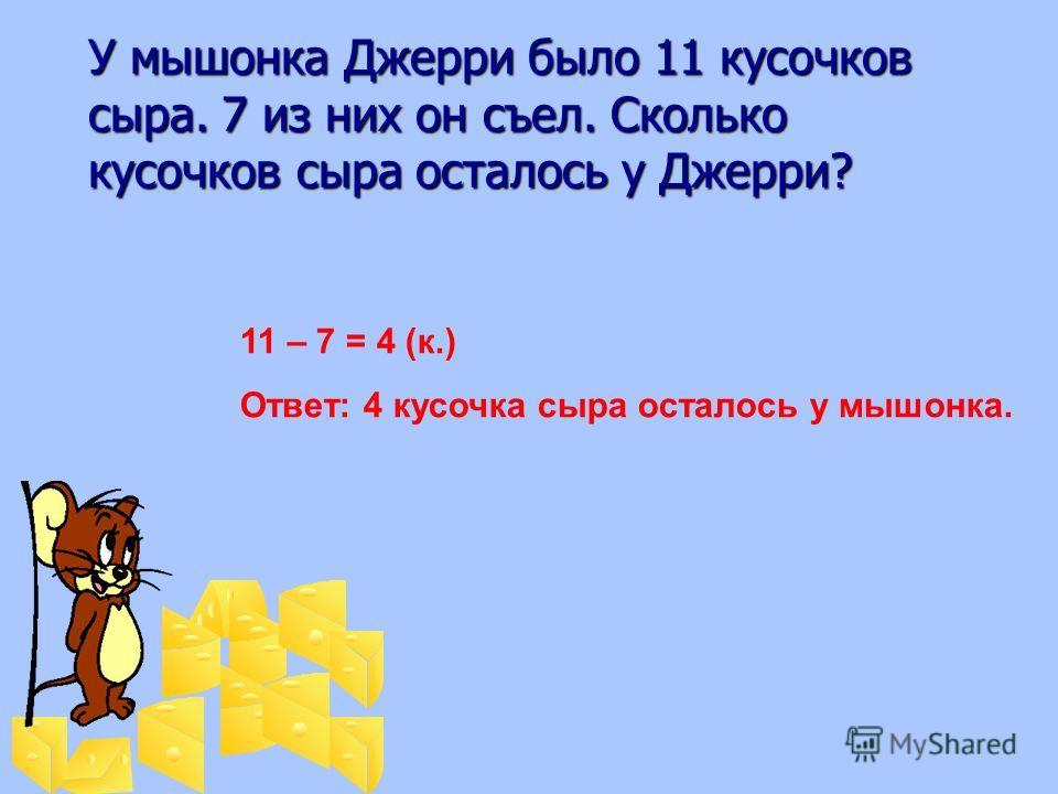 У мышонка Джерри было 11 кусочков сыра. 7 из них он съел. Сколько кусочков сыра осталось у Джерри? У мышонка Джерри было 11 кусочков сыра. 7 из них он съел. Сколько кусочков сыра осталось у Джерри? 11 – 7 = 4 (к.) Ответ: 4 кусочка сыра осталось у мыш