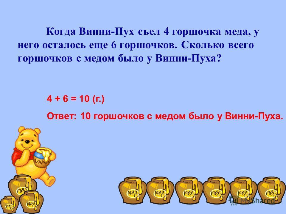 Когда Винни-Пух съел 4 горшочка меда, у него осталось еще 6 горшочков. Сколько всего горшочков с медом было у Винни-Пуха? 4 + 6 = 10 (г.) Ответ: 10 горшочков с медом было у Винни-Пуха.